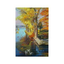 Colorful autumn on the lake Rectangle Magnet