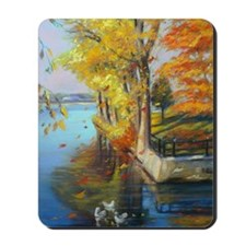 Colorful autumn on the lake Mousepad