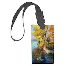Colorful autumn on the lake Luggage Tag