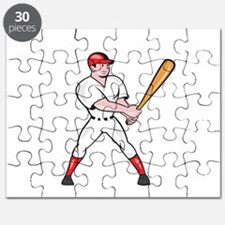 Baseball Hitter Batting Isolated Cartoon Puzzle