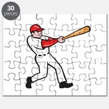 Baseball Player Batting Isolated Cartoon Puzzle