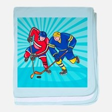 Ice Hockey Player Front With Stick Retro baby blan