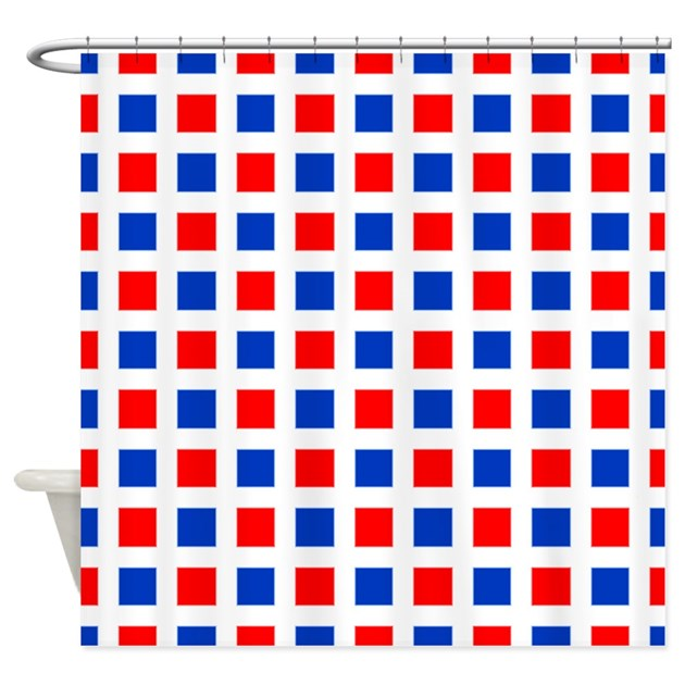 Red And Blue Square Pattern Shower Curtain By PatternedShop