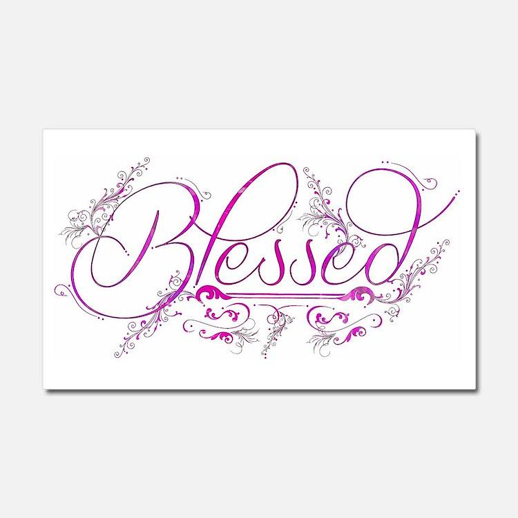 Blessed fuchsia flourish Car Magnet 20 x 12