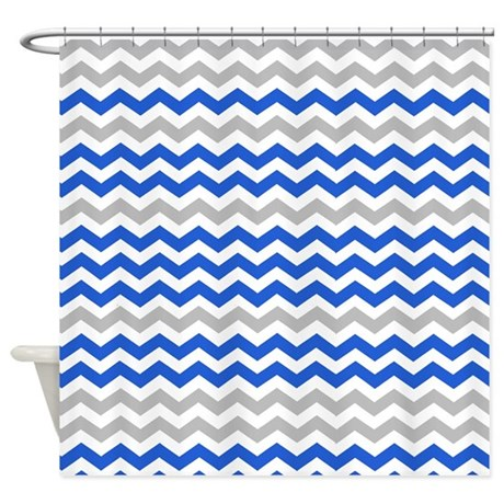 gray and blue chevrons shower curtain by showercurtainsworld