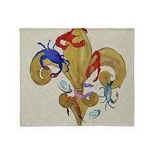 Cajun Fleur de lis art Throw Blanket