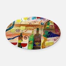 Wine time art Oval Car Magnet