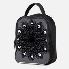 Gothic Black Peacock Feather Neoprene Lunch Bag