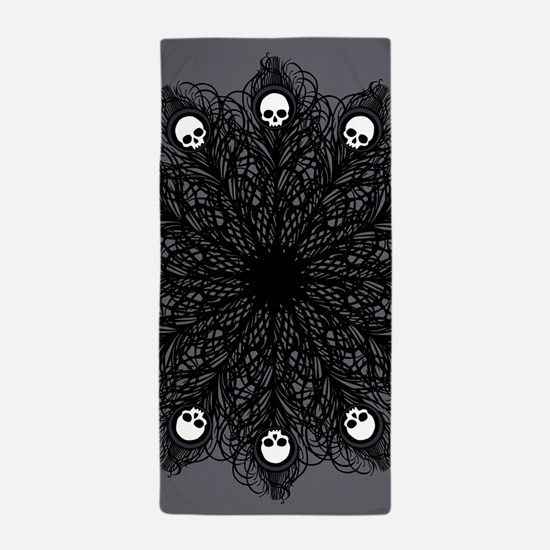 Gothic Black Peacock Feather Beach Towel