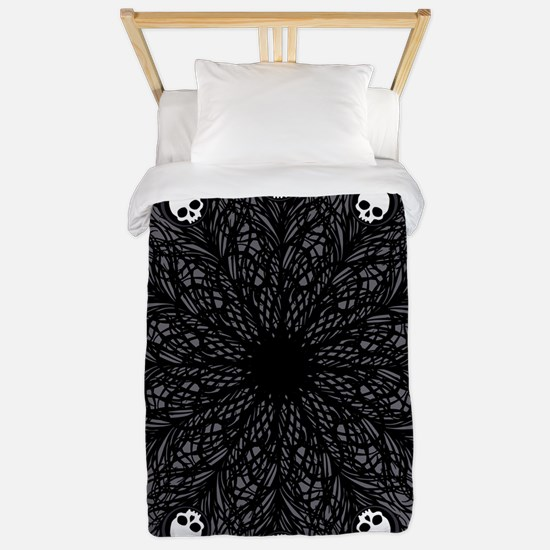 Gothic Black Peacock Feather Twin Duvet
