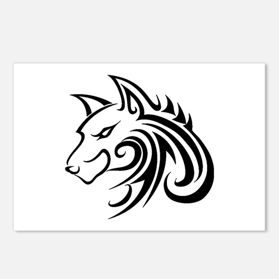 Wolf Tattoo Tribal Postcards (Package of 8)