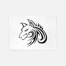 Wolf Tattoo Tribal 5'x7'Area Rug