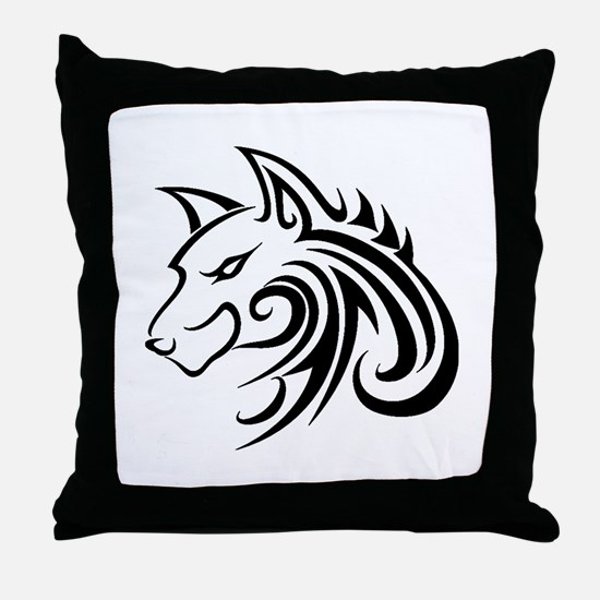Wolf Tattoo Tribal Throw Pillow