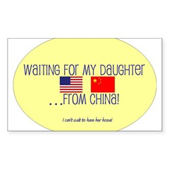 Waiting For My Daughter...Fro Sticker (Rectangular