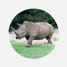 "Rhinoceros with Huge Horn 3.5"" Button"