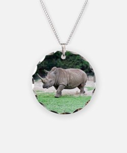 Rhinoceros with Huge Horn Necklace Circle Charm