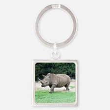Rhinoceros with Huge Horn Square Keychain