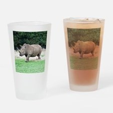 Rhinoceros with Huge Horn Drinking Glass