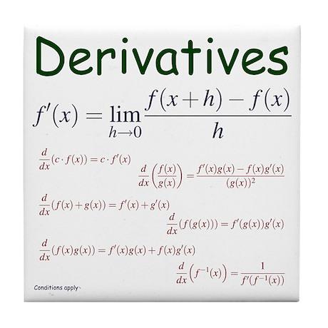 Derivative Formulas Tile Coaster
