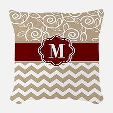 Beige Red Chevron Monogram Woven Throw Pillow