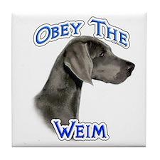 Weimaraner Obey Tile Coaster