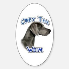 Weimaraner Obey Oval Decal