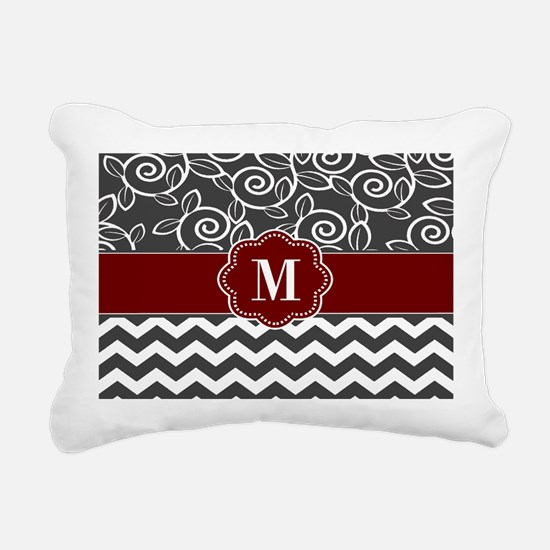 Gray Red Chevron Monogram Rectangular Canvas Pillo