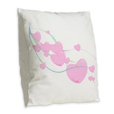 Ribbon Of Hearts Burlap Throw Pillow