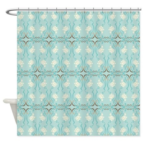 Soft Pastel Blue And Brown Damask Shower Curtain By Nature Tees