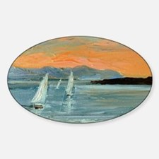 Sunset sailing Sticker (Oval)
