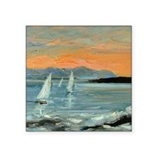 "Sunset sailing Square Sticker 3"" x 3"""