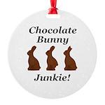 Chocolate Bunny Junkie Round Ornament