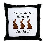 Chocolate Bunny Junkie Throw Pillow