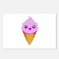 Strawberry Kawaii Ice Cream Cone Postcards (Packag