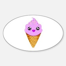 Strawberry Kawaii Ice Cream Cone Decal