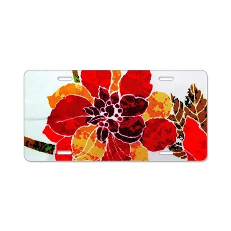 Batik Flower Aluminum License Plate