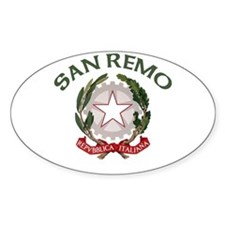 San Remo, Italy Oval Decal