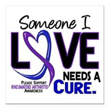 "RA Needs a Cure 2 Square Car Magnet 3"" x 3"""