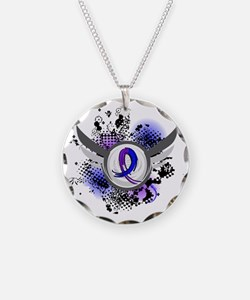 RA Grunge Ribbon Wings Necklace Circle Charm
