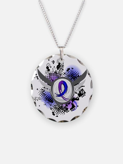 RA Grunge Ribbon Wings Necklace Circle Charm