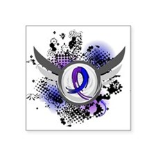 "RA Grunge Ribbon Wings Square Sticker 3"" x 3"""