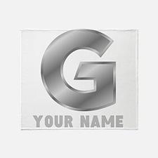 Custom Silver Letter G Throw Blanket
