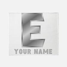 Custom Silver Letter E Throw Blanket