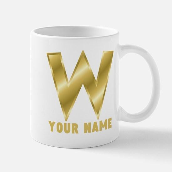 Custom Gold Letter W Mugs