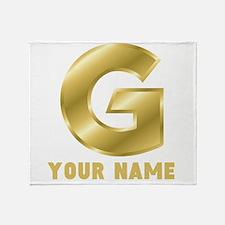 Custom Gold Letter G Throw Blanket