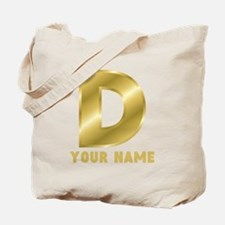 Custom Gold Letter D Tote Bag