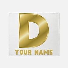 Custom Gold Letter D Throw Blanket