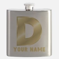 Custom Gold Letter D Flask