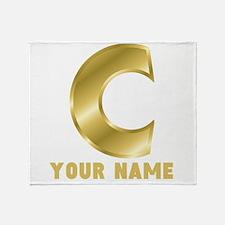 Custom Gold Letter C Throw Blanket