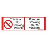 Smokeless vehicle Bumper Sticker